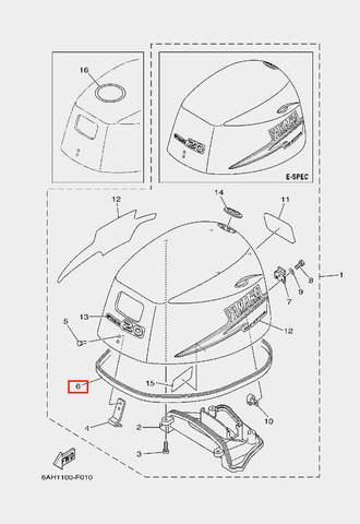 Уплотнитель капота для лодочного мотора F20 Sea-PRO (1-6)