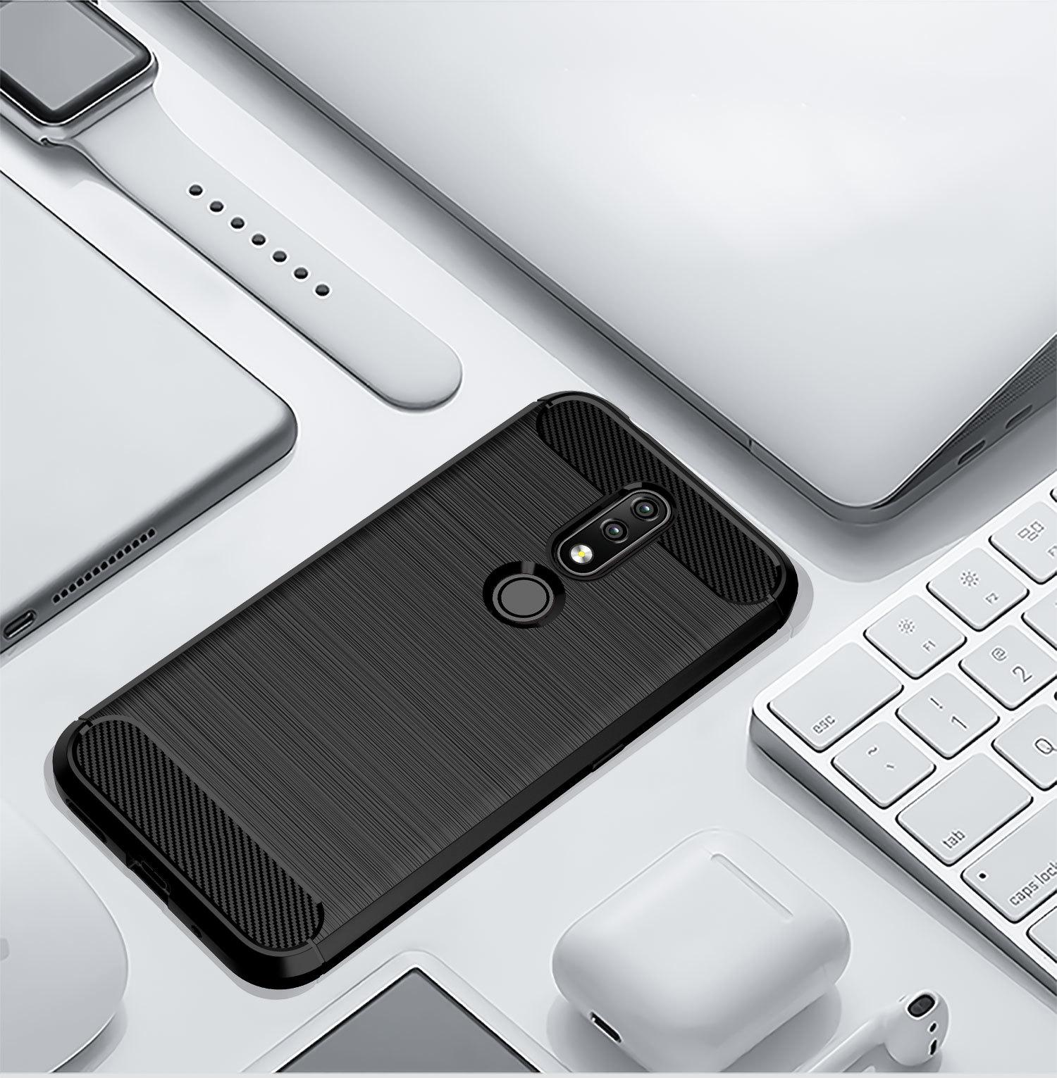 Чехол на Nokia 4.2 цвет Black (черный), серия Carbon от Caseport