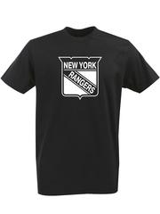 Футболка с однотонным принтом НХЛ Нью-Йорк Рейнджерс (NHL New York Rangers) черная 004