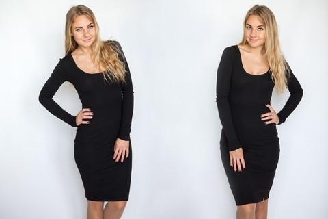 Платье с округлым вырезом черное