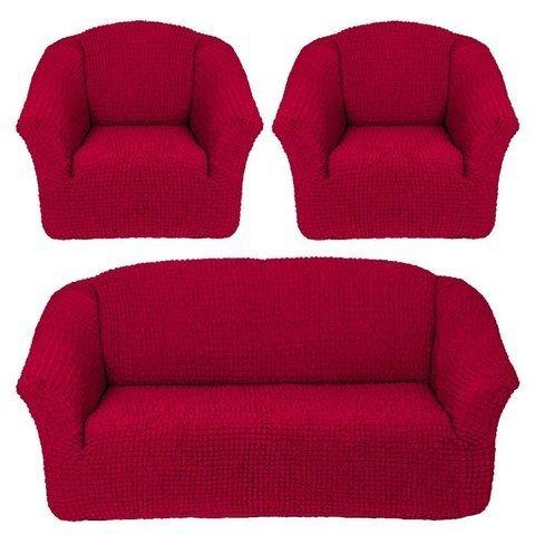 Комплект чехлов для дивана и двух кресел бордо без оборки.