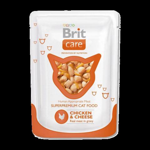 Brit Care Cat Консервы для кошек с курицей и сыром (пауч)