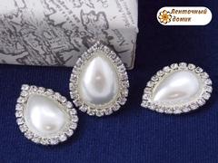 Камень-капля в стразовом обрамлении жемчужный белый (10 шт)