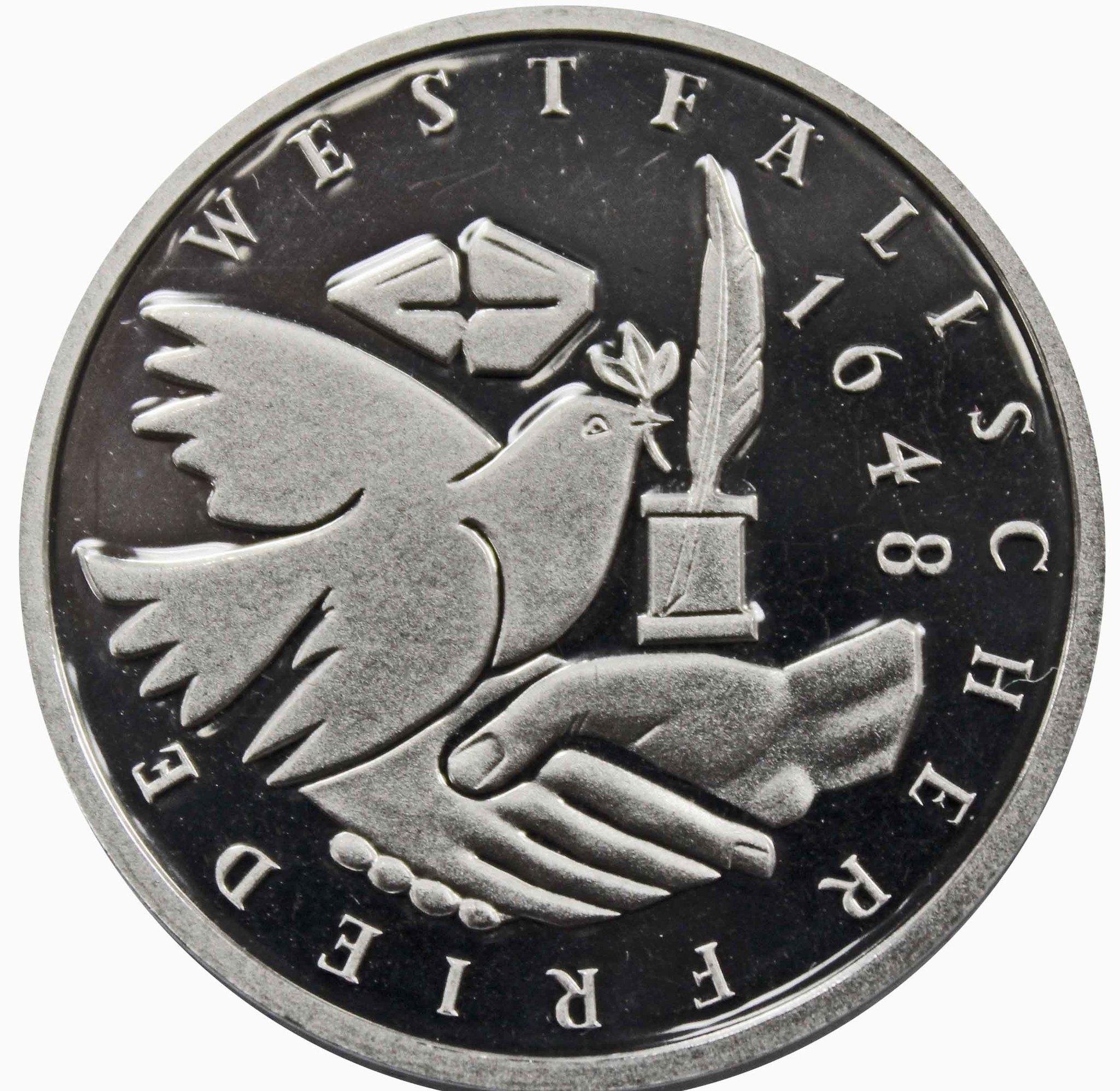 10 марок. 350 лет подписания Вестфальского Мирного Договора (J). Серебро. 1998 г. PROOF. В родной запайке