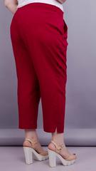 Миранда. Укороченные летние брюки плюс сайз. Бордо.
