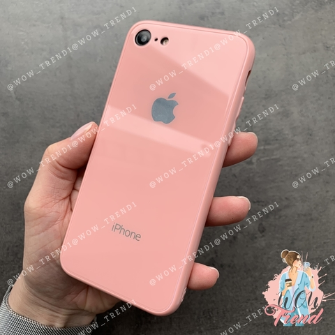 Чехол iPhone 7/8 Glass Full color Case Logo /pink/