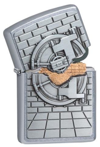 Зажигалка Zippo Classic с покрытием Street Chrome, латунь/сталь, серебристая, матовая, 36x12x56 мм123