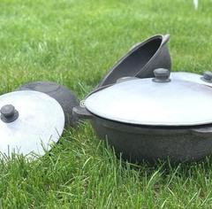 Комплект: печь с дымоходом + казан 10л
