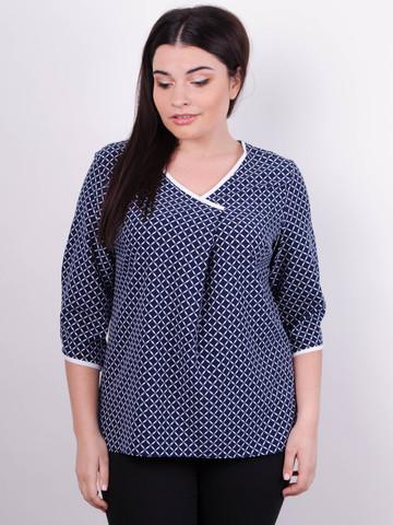 Леона принт. Стильная блуза больших размеров. Синий.