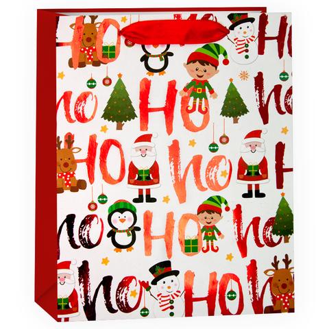 Пакет подарочный, С Новым Годом (Дед Мороз и елочки), Белый, 32*26*12 см
