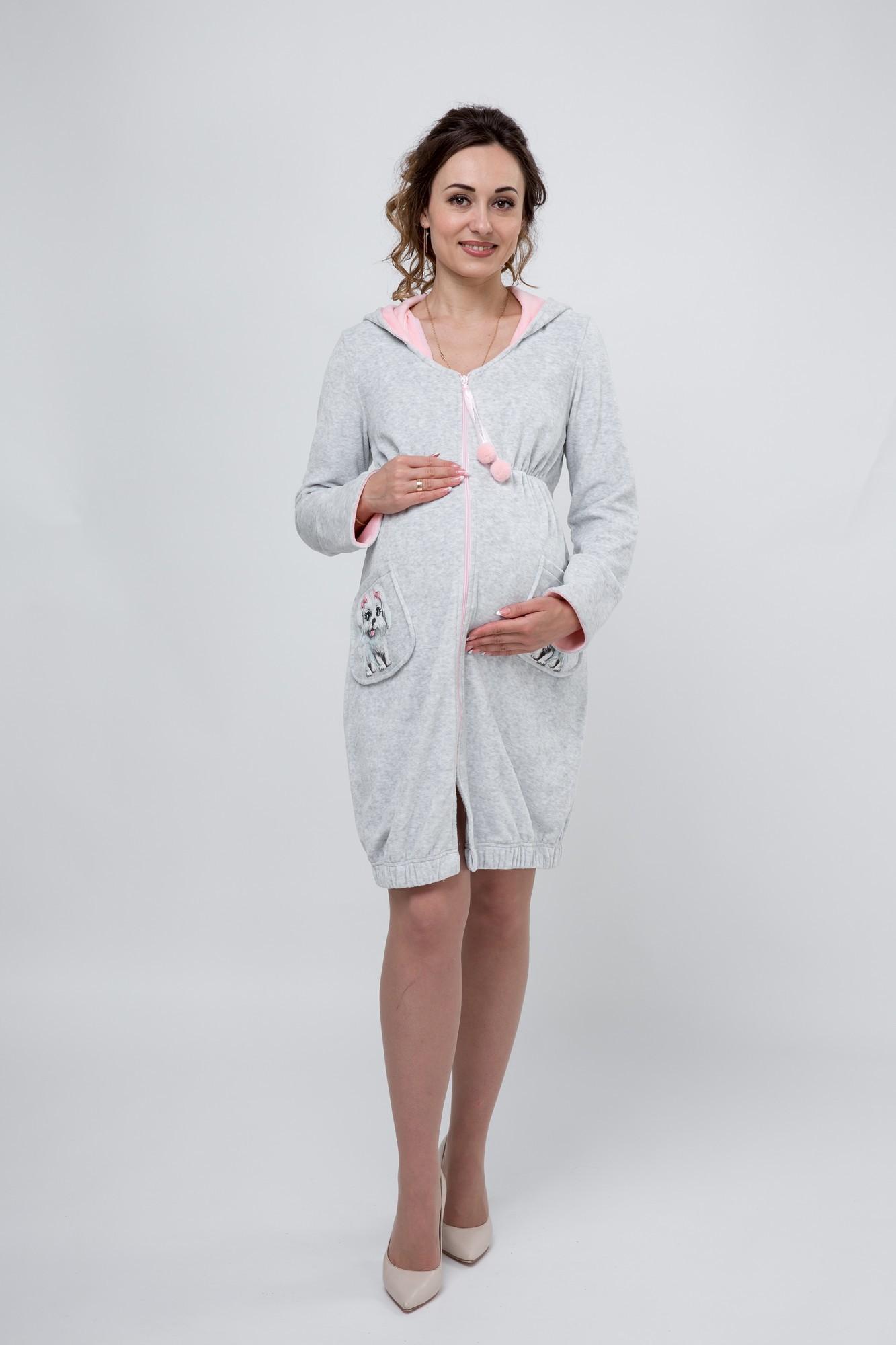 Халат для беременных 09300 серый
