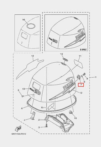 Крюк капота для лодочного мотора F20 Sea-PRO (1-7)