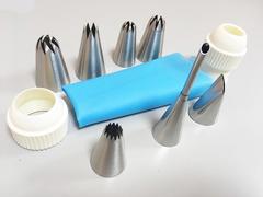 Набор кондитерских насадок, 7 шт + переходник с 2 фиксаторами + силиконовый мешок