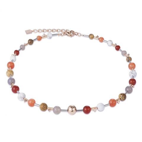 Колье Coeur de Lion 4949/10-0302 цвет темно-красный, оранжевый, коричневый, белый