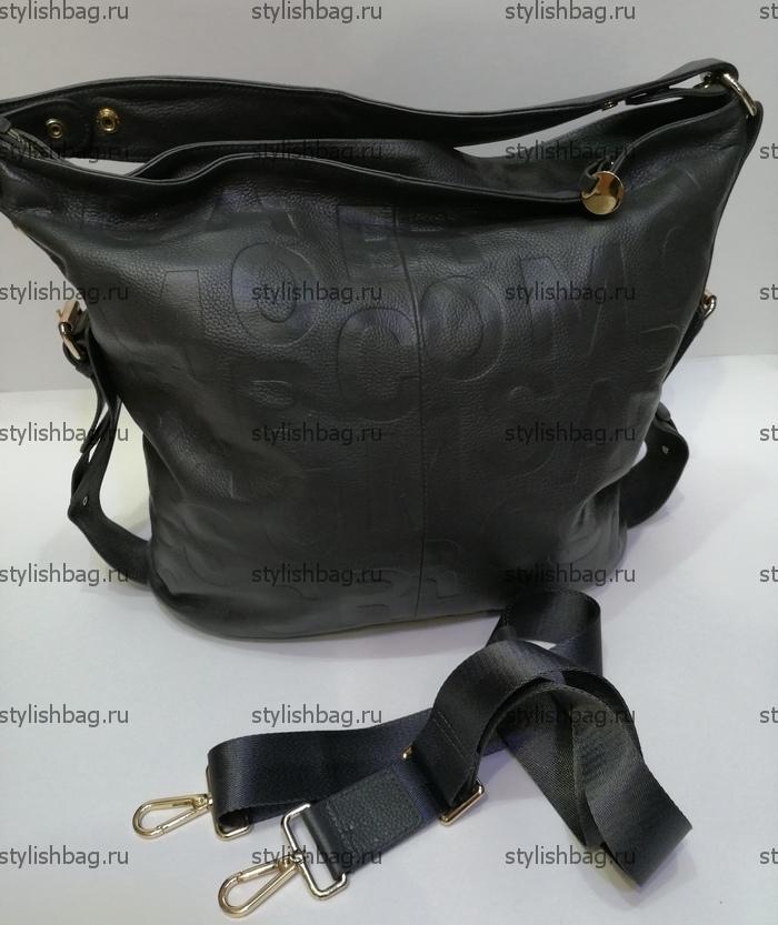 Женская сумка из кожи серого цвета NF190901