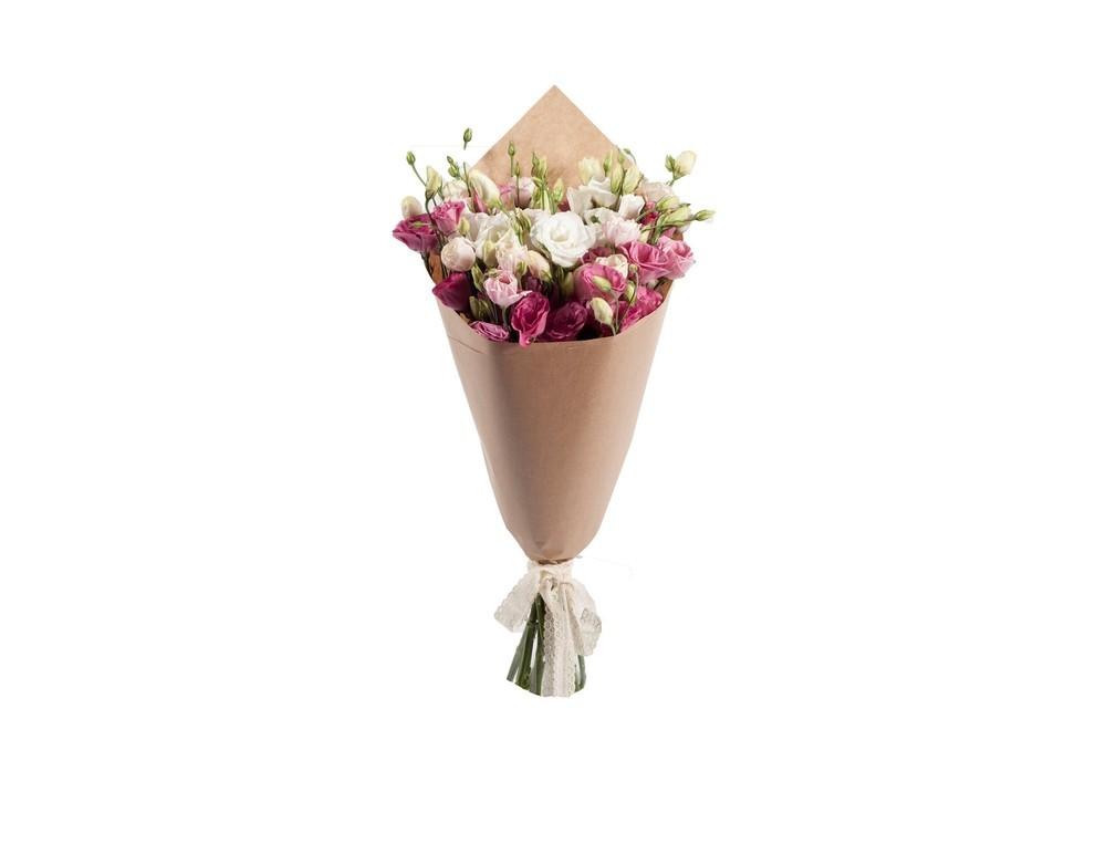Букет из 9 белых и розовых эустом в крафте
