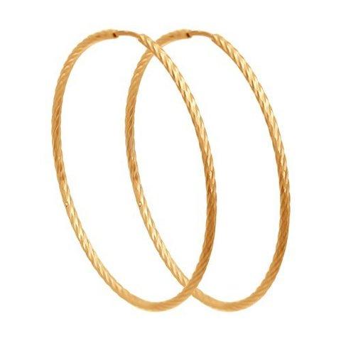140147- Серьги-конго из золота 585 пробы Ø 30 мм с алмазными гранями