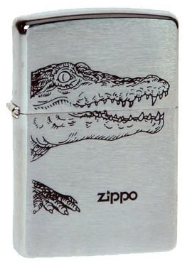 Зажигалка Zippo Alligator* с покрытием Brushed Chrome, латунь/сталь, серебристая, матовая, 36х12х56