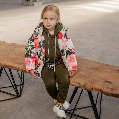 Дитяча демісезонна куртка з принтом «Троянди» на дівчинку