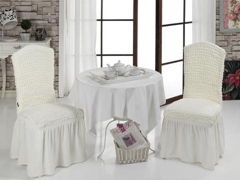 Чехлы на стулья (2 шт) цвет кремовый