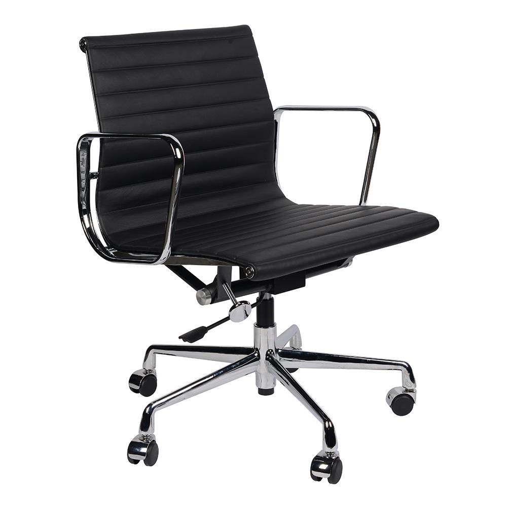 Кресло Eames Style Ribbed Office Chair EA 117 черная кожа - вид 1