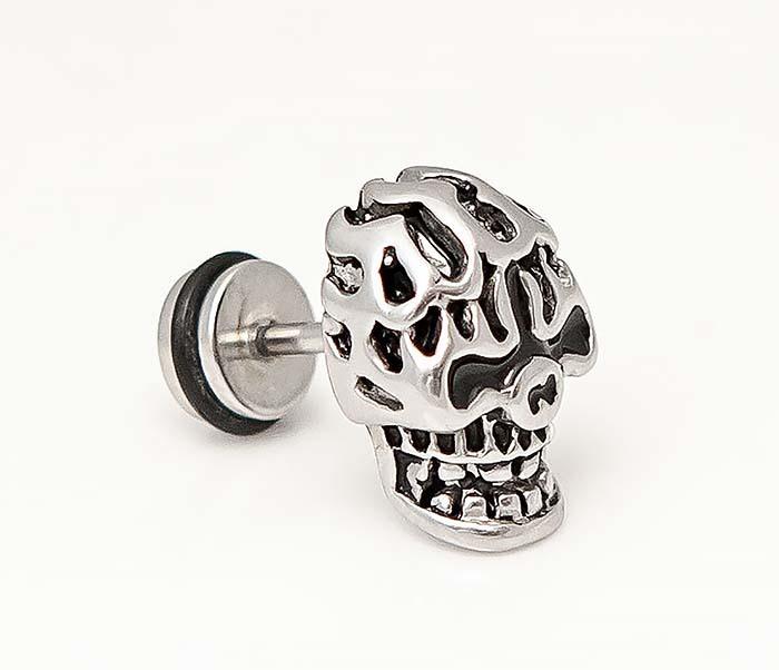 ER469-1 Мужская серьга череп из стали