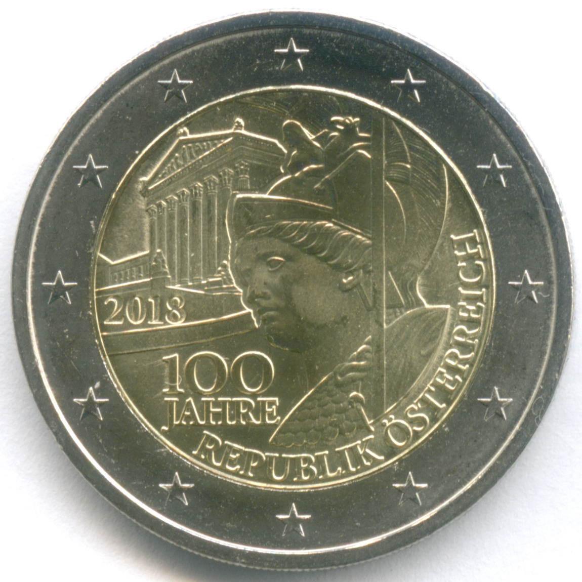 2 евро 2018 год. Австрия. 100 лет Республике. Биметалл UNC