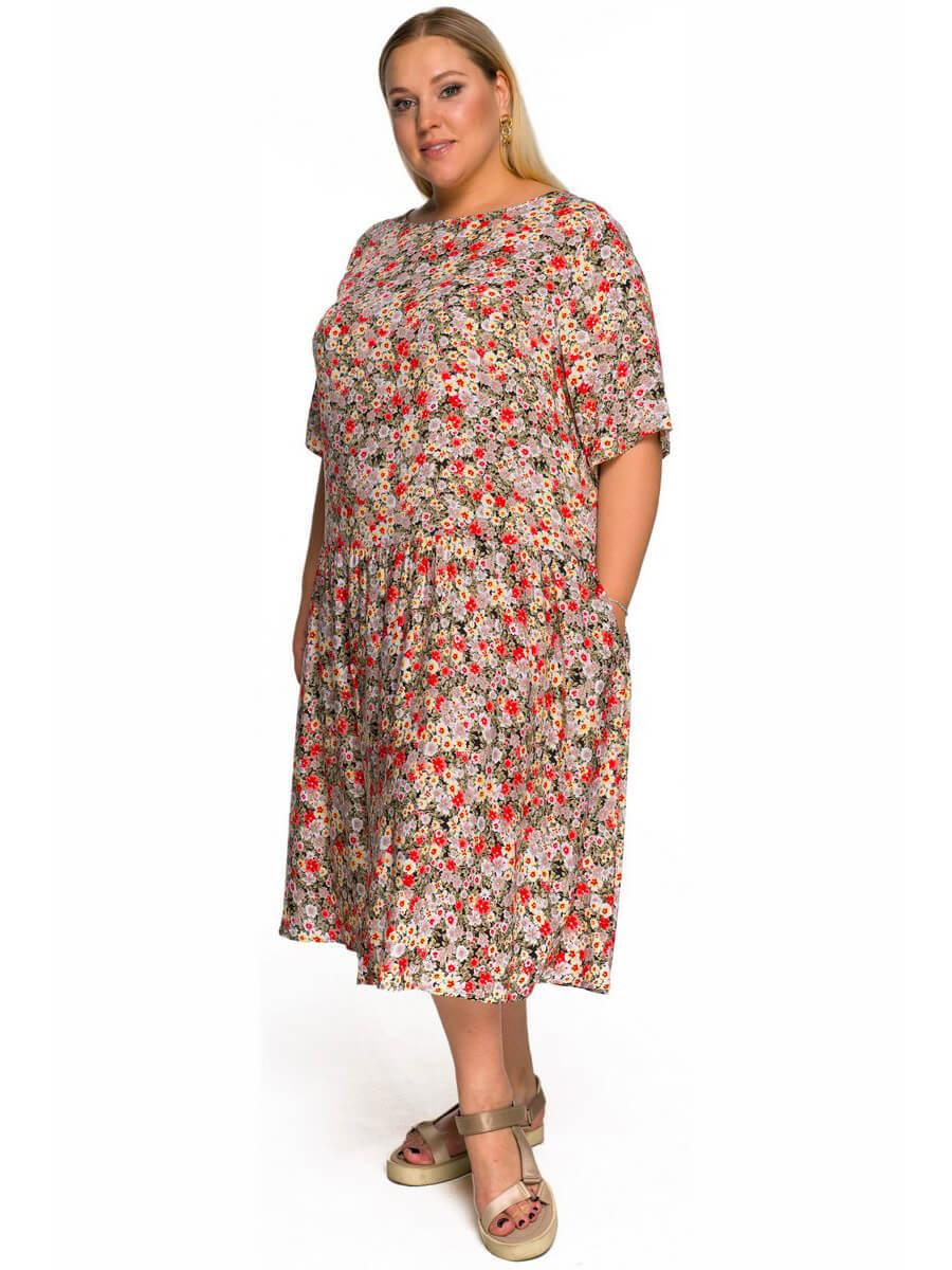 Свободное платье из штапеля Цветочки
