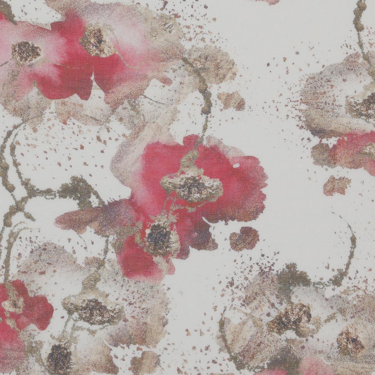 Шёлковая бело-молочная вуаль с акцентами розовых оттенков
