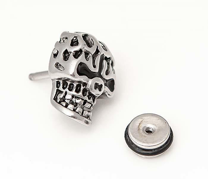 ER469-1 Мужская серьга череп из стали фото 02