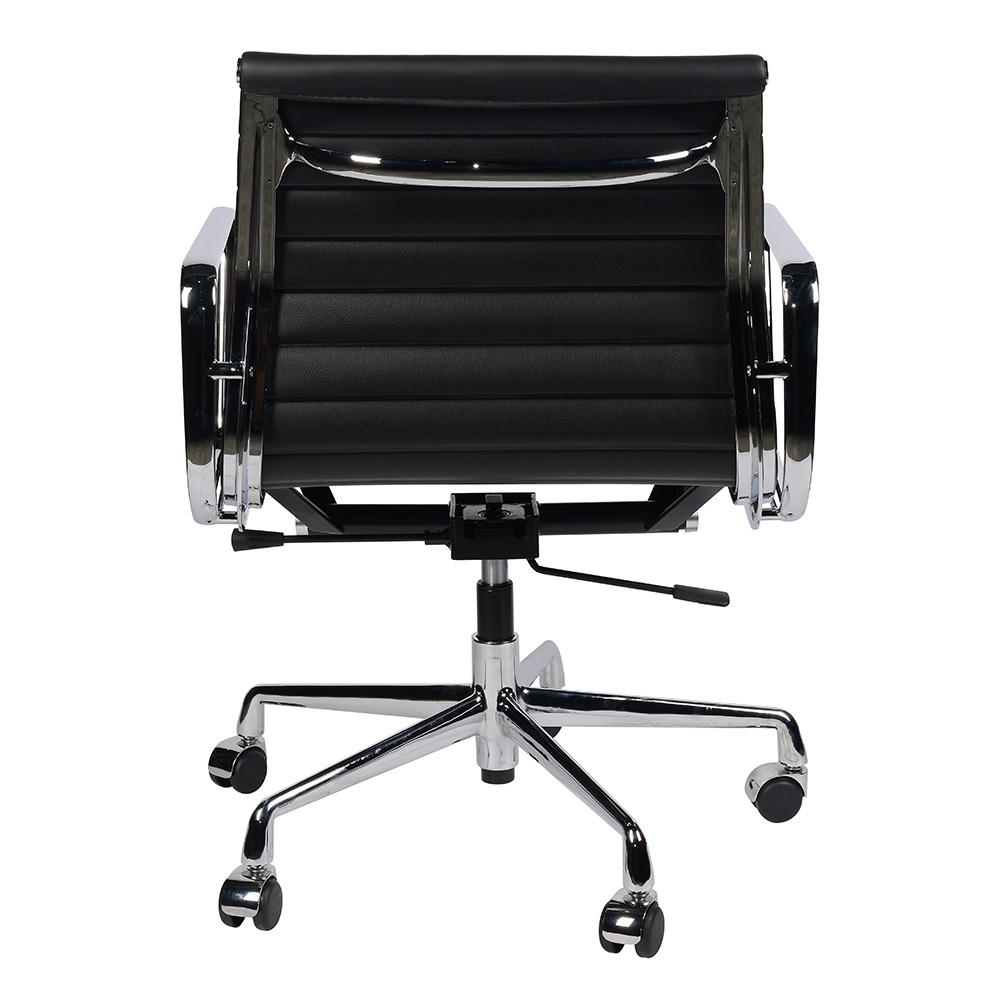 Кресло Eames Style Ribbed Office Chair EA 117 черная кожа - вид 5