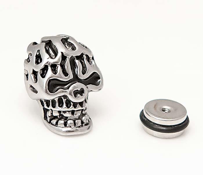 ER469-1 Мужская серьга череп из стали фото 03