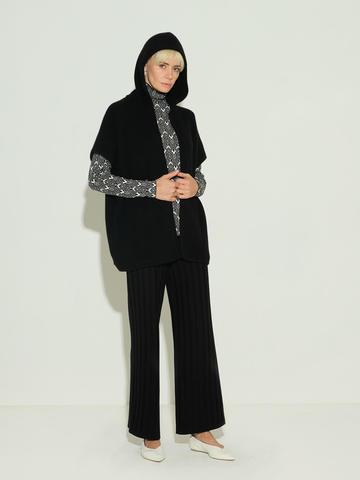 Женские брюки черного цвета из шерсти и шелка - фото 2
