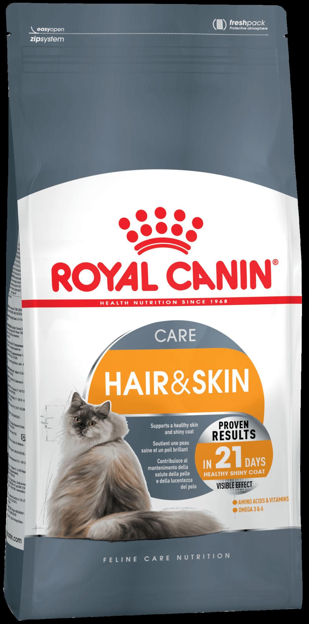 Royal Canin Корм для кошек, Royal Canin Hair & Skin Care, здоровье шерсти и кожи, в возрасте от 1 года и старше f_hair-skin.png