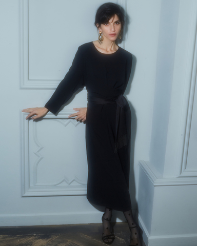 Платье-миди с кушаком