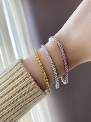 52180- Теннисный браслет дорожка из серебра с круглыми, розовыми цирконами