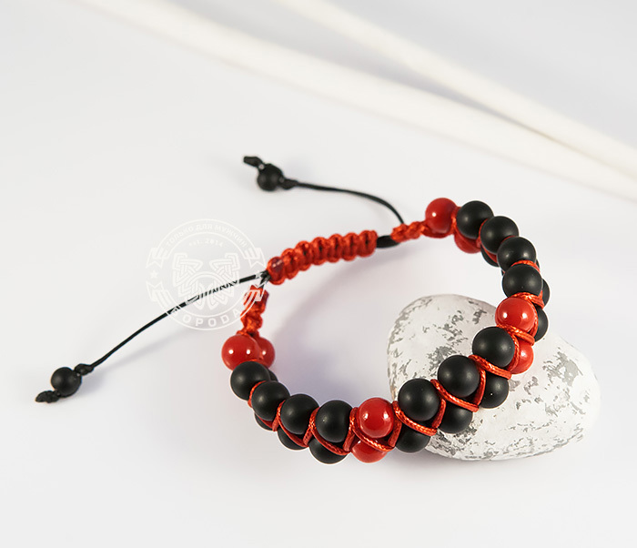 BS713 Двойная мужская шамбала красного цвета из коралла. «Boroda Design»