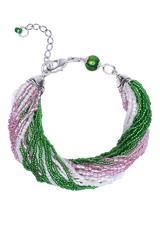 Бисерный браслет, 24 нити, розово-зеленый