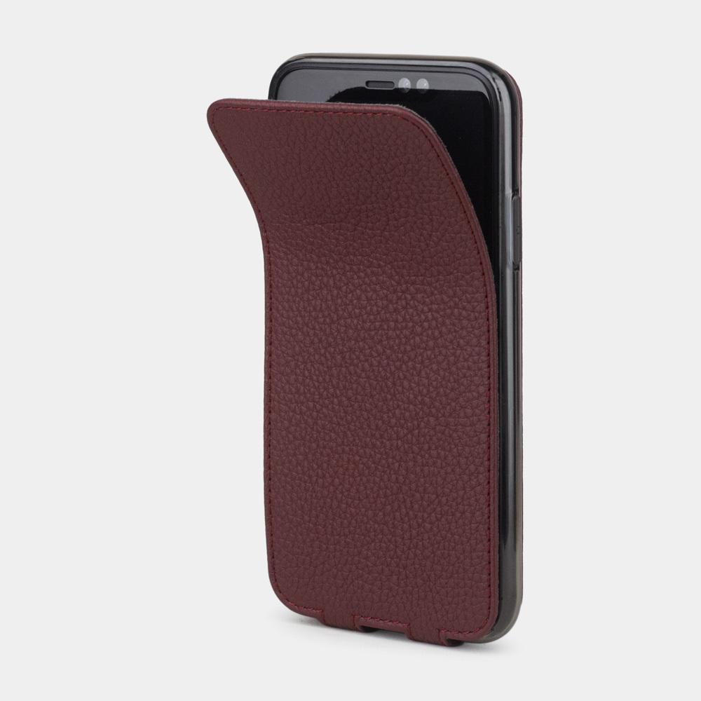 Чехол для iPhone XR из натуральной кожи теленка, бордового цвета
