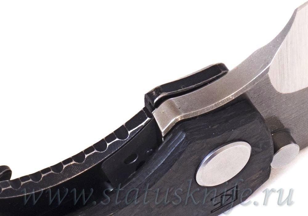 Нож CKF/Rotten Evolution 2.0 (cool CF + dark Ti handle, dark Ti clip & spacer, M390 2-tone satin/stonewash) - фотография