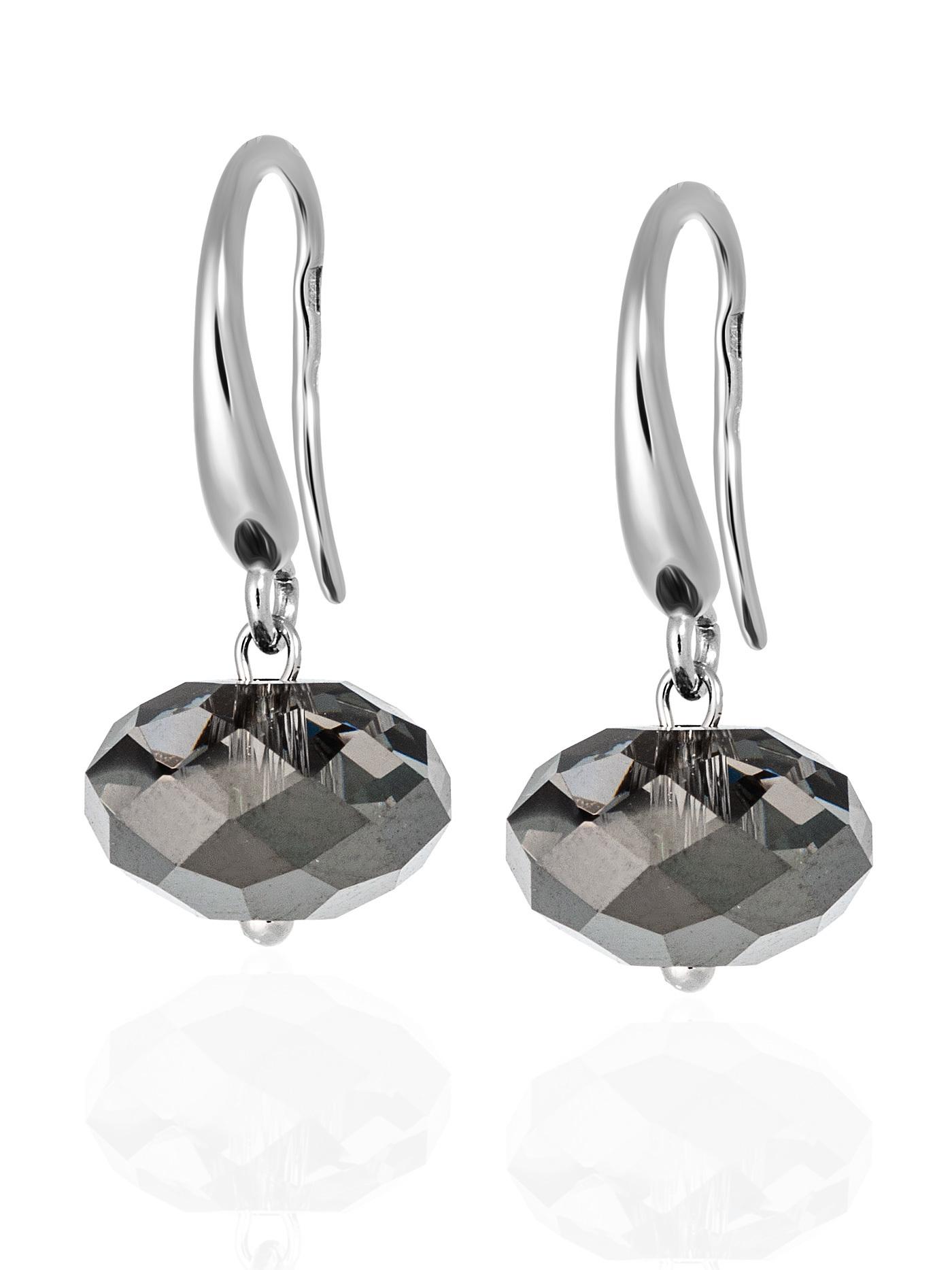 Серебряные серьги с серебристыми кристаллами Swarovski