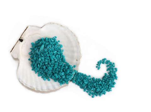 Грунт аквариумный декоративный бирюзовый 0,5, - 0,8 см.