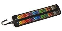 Набор художественных цветных карандашей POLYCOLOR 72 цвета с металлической точилкой и ластиком в черного цвета текстильном пенале-рулоне на кнопке