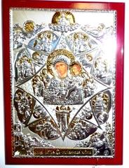 Серебряная с золочением кона Божией Матери Неопалимая Купина 21х15см