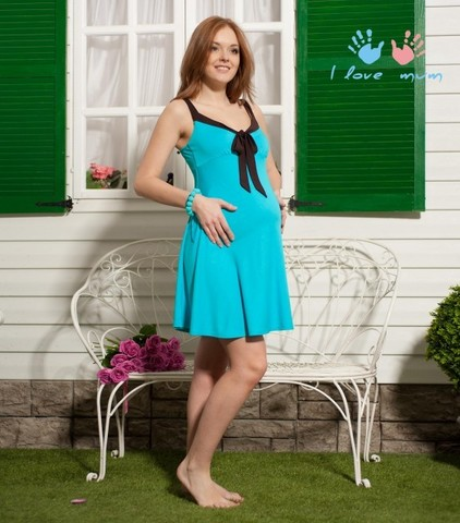 Сарафан Летний бирюзовый для беременных