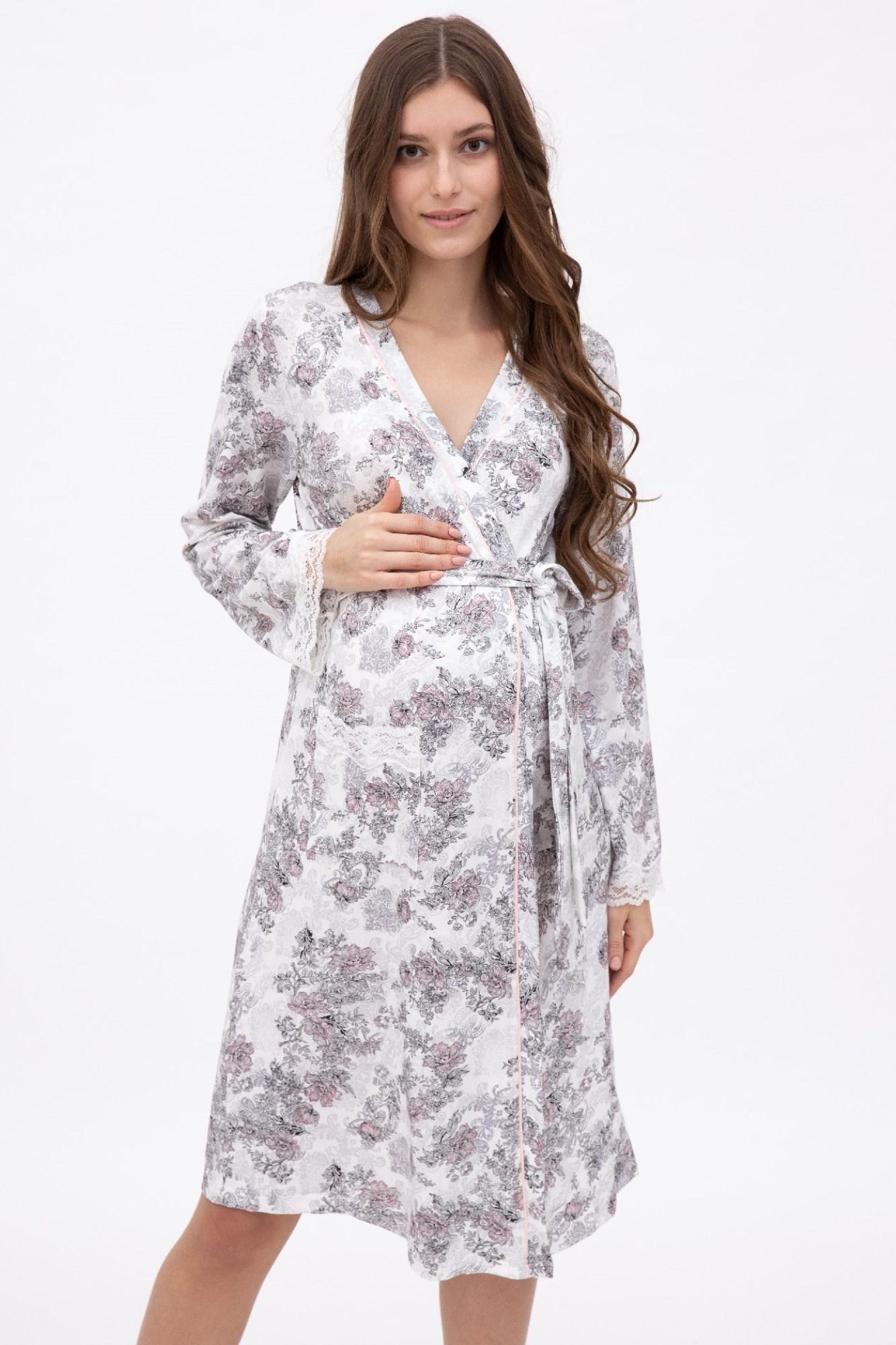 Халат для беременных 11038 цветы