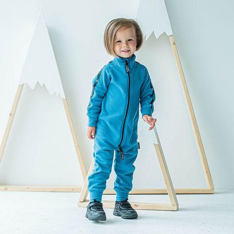 Thermal fleece jumpsuit with stripes - Denim