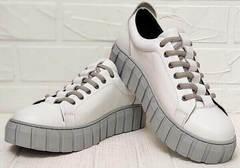 Кожаные сникерсы кроссовки на высокой платформе женские Guero G146 508 04 White Gray.