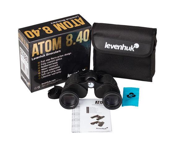 Комплект поставки бинокля Levenhuk Atom 8x40