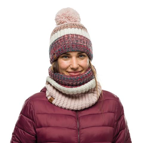 Шапка вязаная с флисом Buff Hat Knitted Polar Alina Blossom Red фото 2